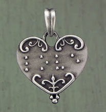 pewter heart pendant with braille